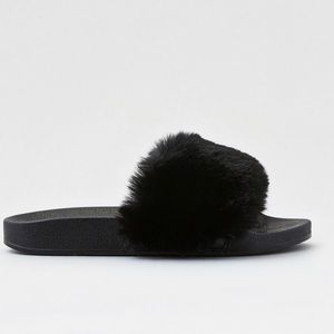 American Eagle Outfitters Shoes - American Eagle Faux Fur Pool Slides
